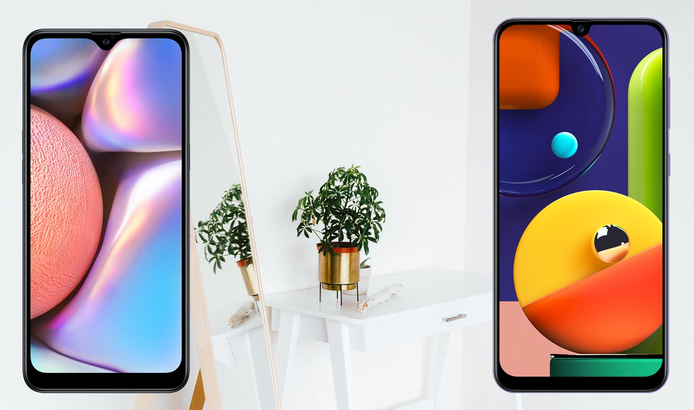 Samsung-A10s-and-A50s-with-Mirror-Plant-Background