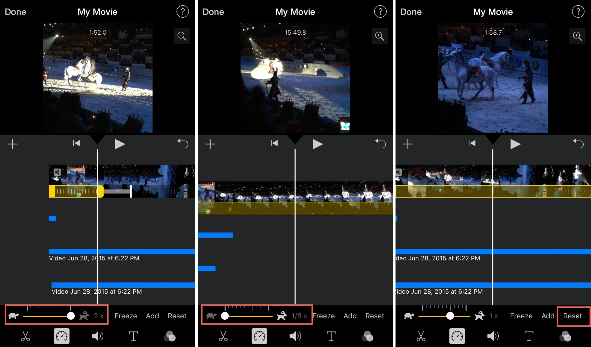 change speed of videos in iMovie