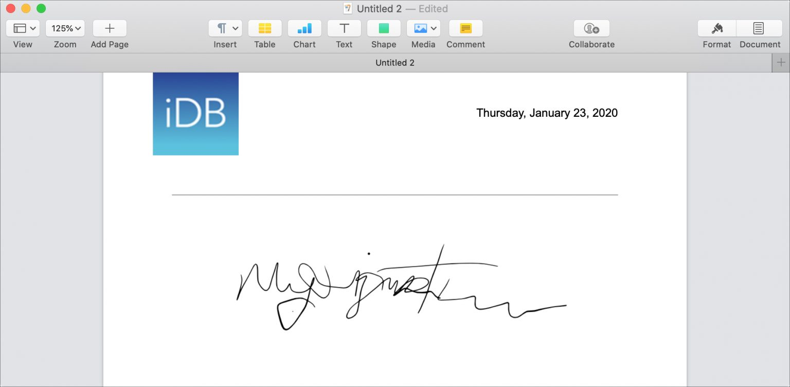 Add Signature in Pages
