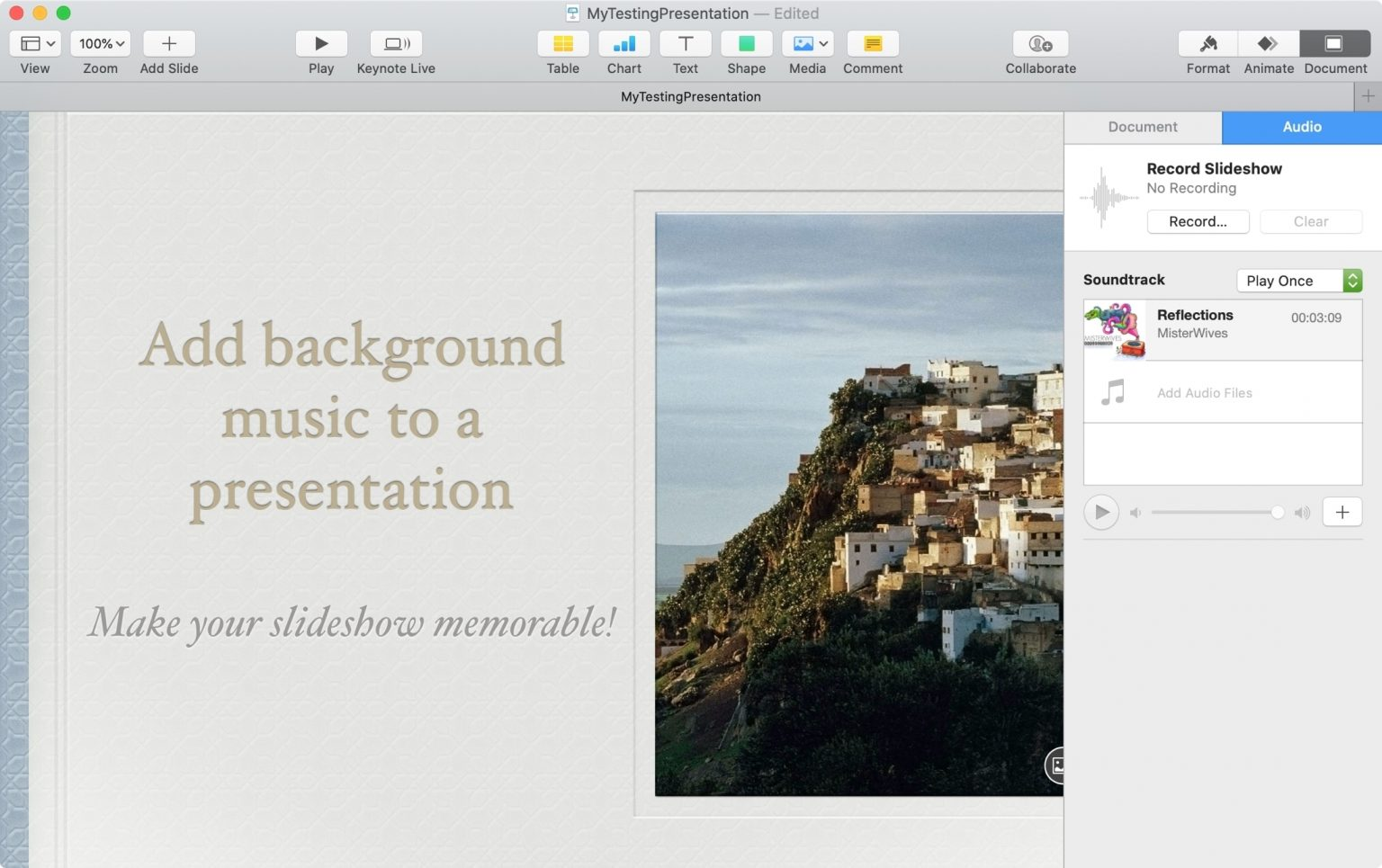 Add Background Music Soundtrack Keynote All About Os