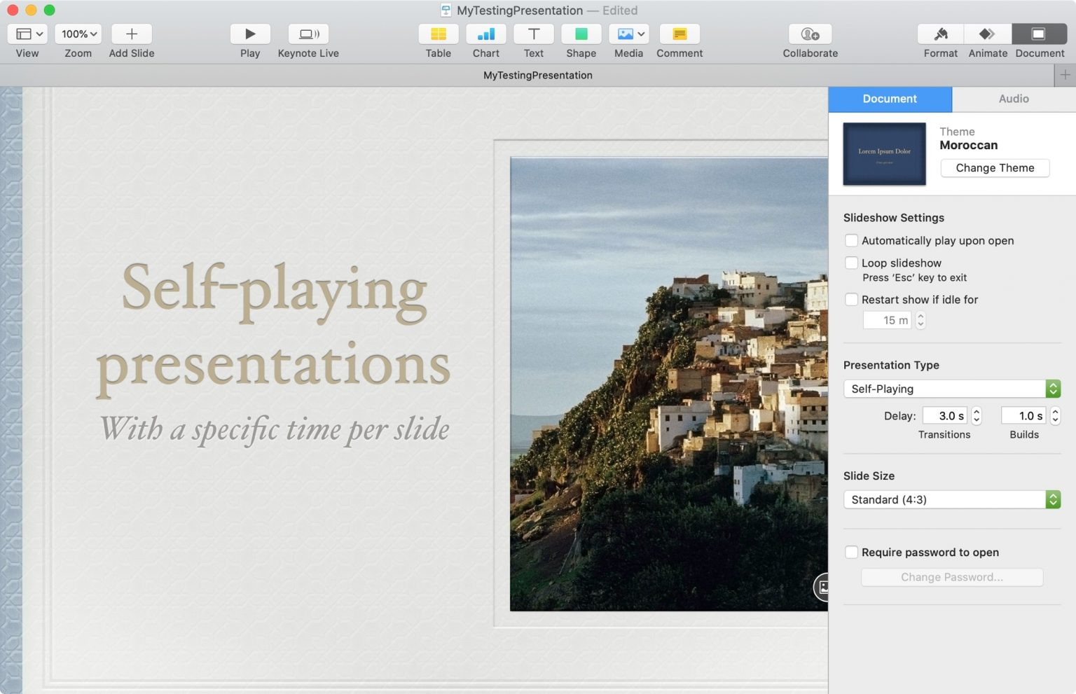 automatically Play time Slides Keynote
