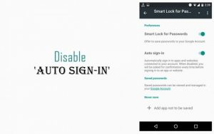 Disable Auto Sign-In For Apps