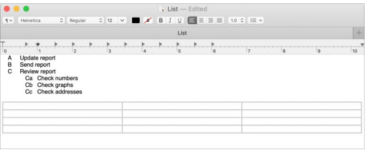 Create Tables & Lists in TextEdit on Mac