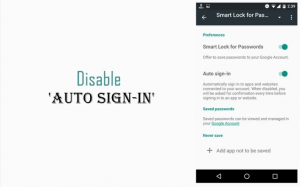 Disable Auto Sign-In