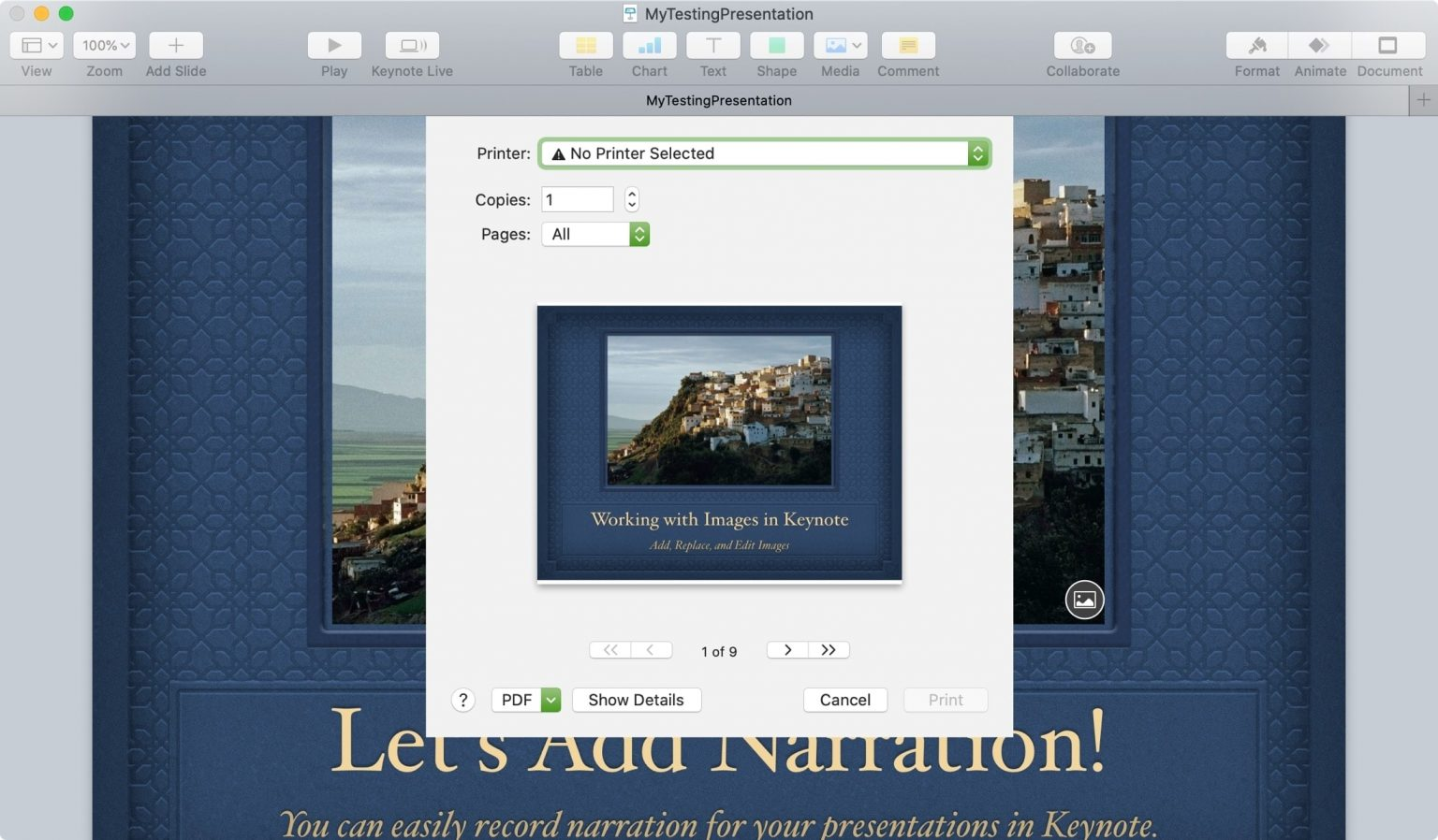 Print a Keynote Presentation On Your Mac