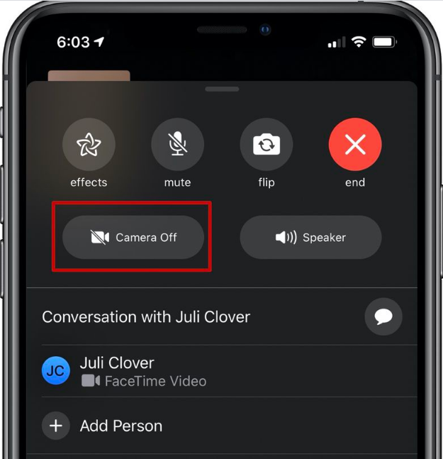 Move From FaceTime Video To FaceTime Audio
