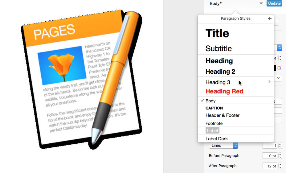 Edit Paragraph Text Styles in Numbers, Pages & Keynote