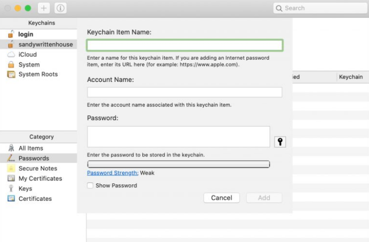 Add Passwords In Keychain Access