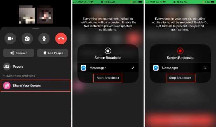 Screen share in Facebook Messenger on iOS and Mac